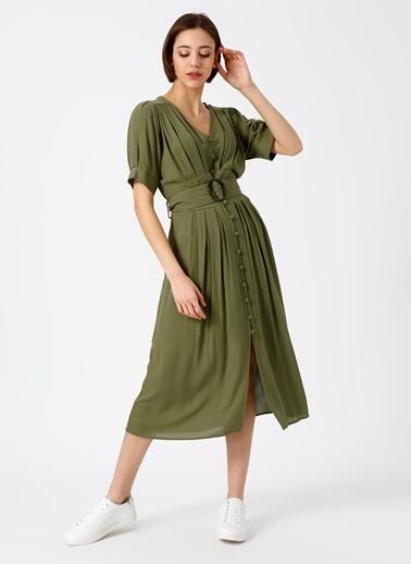 Random Önden Düğmeli Kuşaklı Midi Elbise Haki